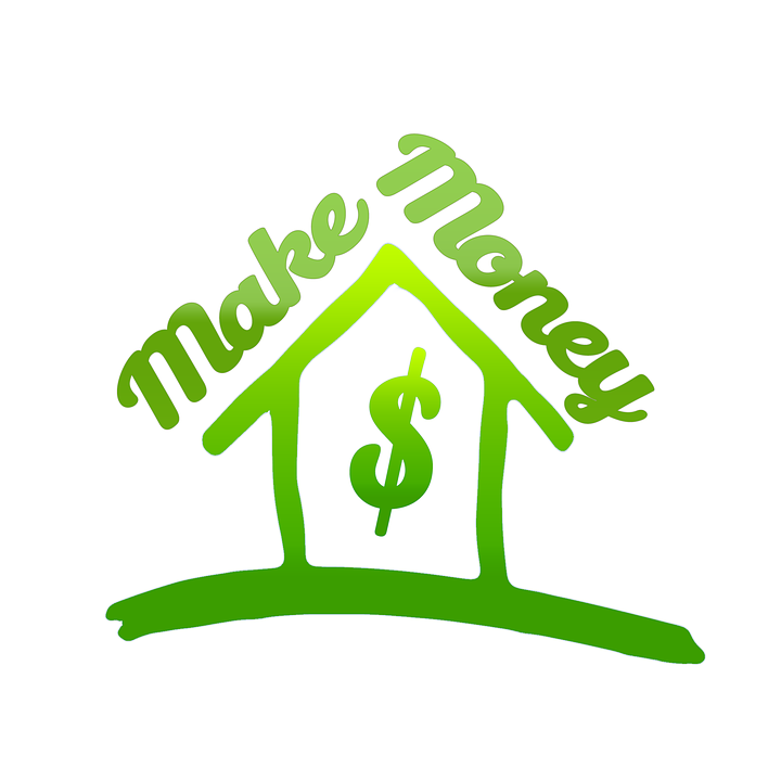 Image of a house with a dollar sign in the middle and make money along the roof